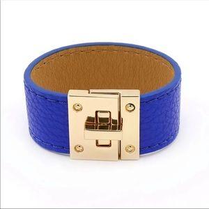 Jewelry - Blue Vegan Leather Cuff Bracelet Gold Hardware